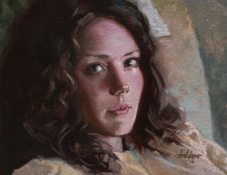 Portrait Painting In Oils With Dark Hair