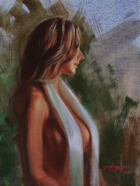 Nude with White Satin Scarf
